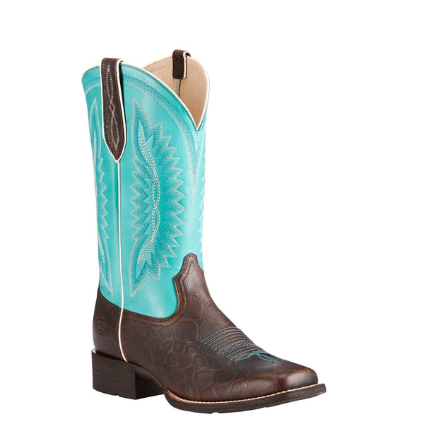 Ariat® Ladies Quickdraw Legacy Brown Croc & Turquoise Boots 10023141 - Wild West Boot Store
