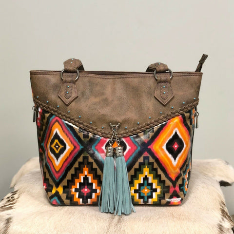 Catchfly Leather and Aztec Concealed Carry Bambi Tote 1347309