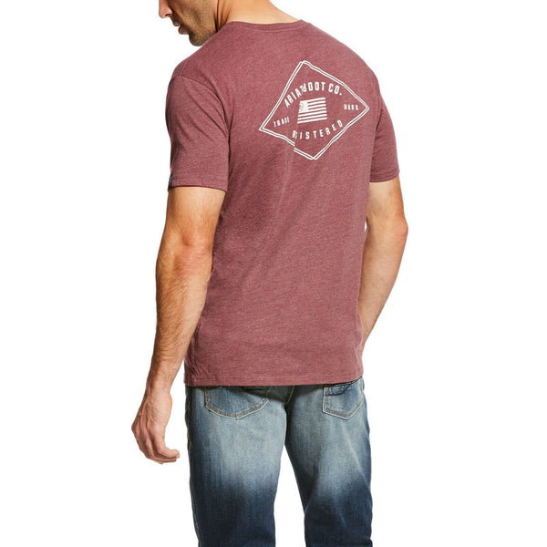 Ariat® Men's US Registered Flag Burgundy Short Sleeve T-Shirt 10024554