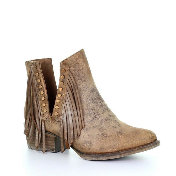 Circle G by Corral Ladies Brown Studs & Fringe Booties Q5090