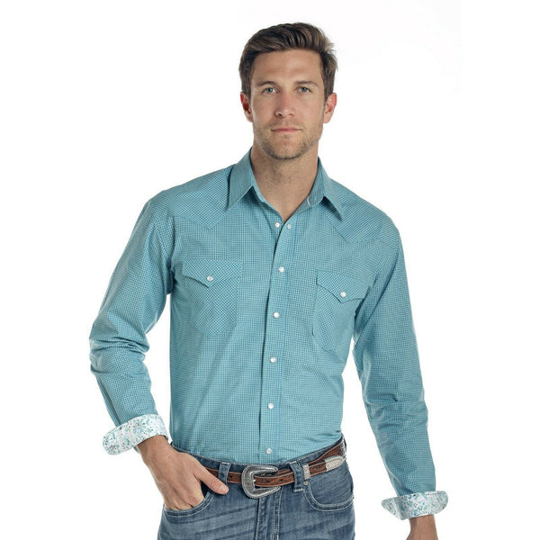 Panhandle Men's Blue Sand Hills Classic Check Shirts R0S1511