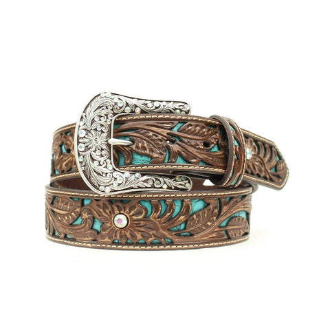 Ariat Ladies Floral Tooled with Turquoise Inlay Belt A1513402
