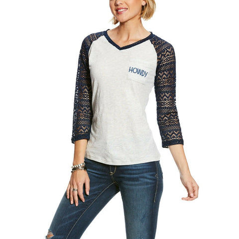 Ariat Ladies Heather Grey Howdy T-Shirt 10025813