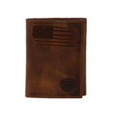 Ariat Men's Brown Distressed USA Flag Tri-Fold Wallet A3545402