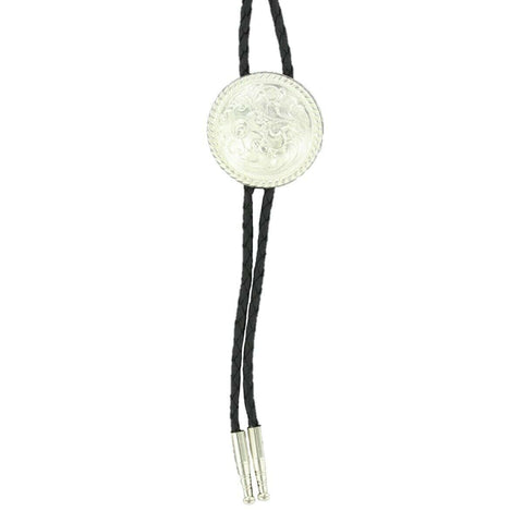 Double S Silver Engraved Floral Round Bolo Tie 22804