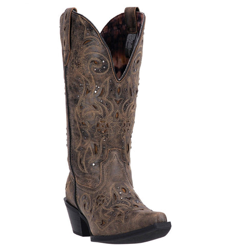 Laredo Ladies Vanessa Black/Tan Studded Western Boots 52050