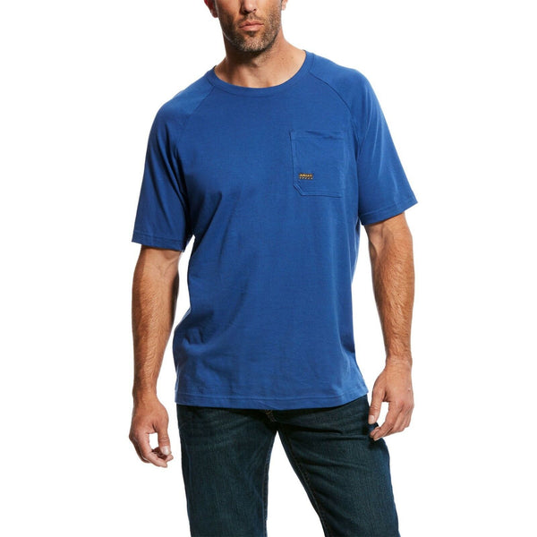 Ariat® Men's Rebar CottonStrong Blue Short Sleeve T-Shirt 10025377