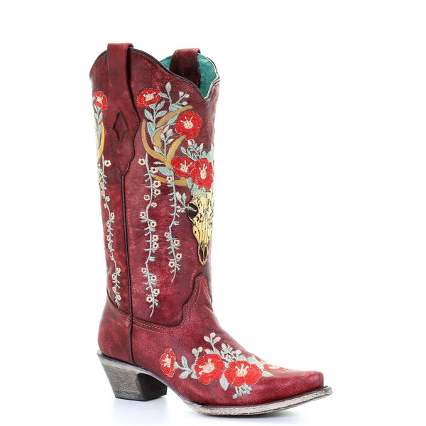 Corral Ladies Red Deer Skull Overlay & Floral Embroidery Boots A3712