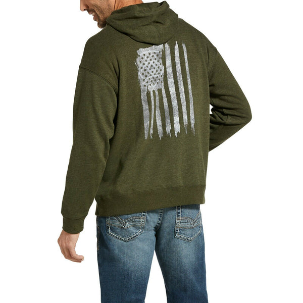 Ariat® Men's Vertical Flag Brine Olive Hoodie 10033229