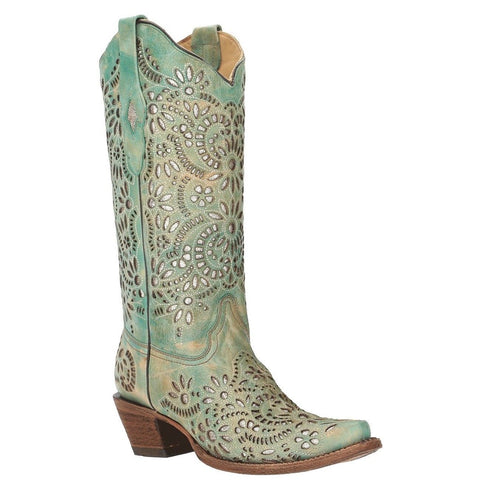 Corral Ladies Blue Glitter Inlay & Embroidery Western Boots A3353 - Wild West Boot Store