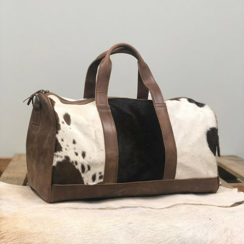 American Darling Brown Leather and Cowhide Duffel Bag ADBGS174BRW