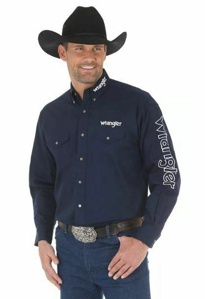 Wrangler Men's Logo Long Sleeve Button Down Solid Navy Shirt MP2327N