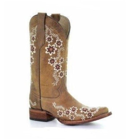 Circle G By Corral Ladies Tan Floral Embroidery Square Toe Boots L5382 - Wild West Boot Store