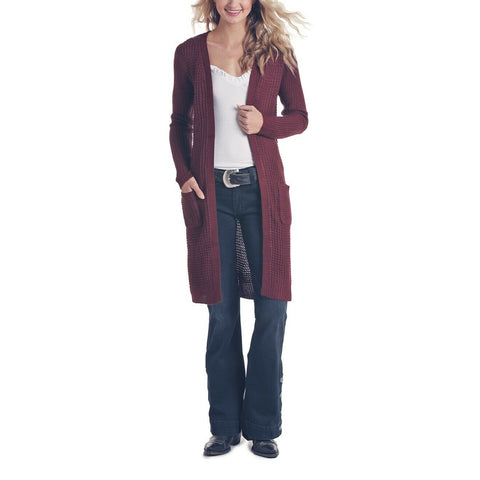 Panhandle Ladies Wine Long Sleeve Sweater Duster Cardigan J8-6849-63