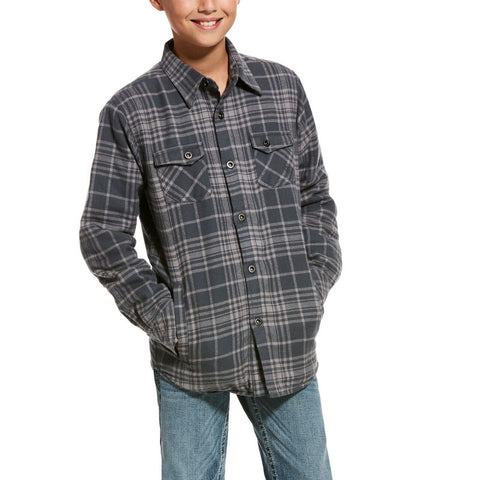 Ariat® Boy's Karlsen Charcoal Grey Plaid Flannel Shirt Jacket 10027956