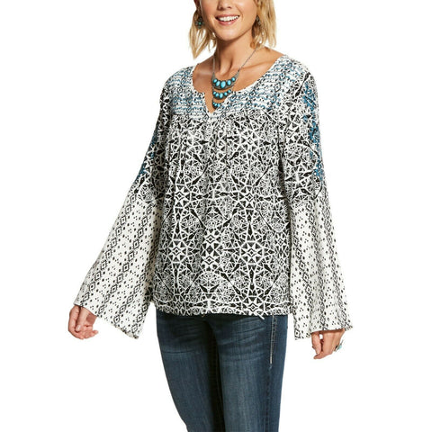 Ariat Ladies Camilla Multi-color Print Bell Sleeves Tunic 10028379