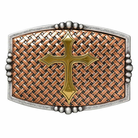 Nocona Men's Copper Basketweave with Gold Cross Buckle 37115
