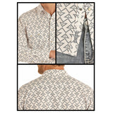 Rock & Roll Cowboy Men's Cream & Geo Print Button Up Shirt B2S9131
