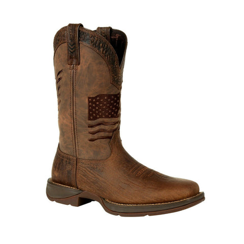 Durango Men's Rebel Brown Distressed Flag Square Toe Boot DDB0314