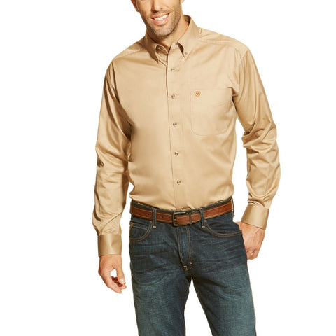 Ariat® Men's Solid Twill Khaki Long Sleeve Button Shirt 10000505