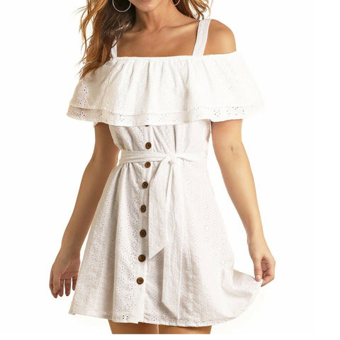 Rock & Roll Cowgirl Ladies White Ruffle Dress D5-5140