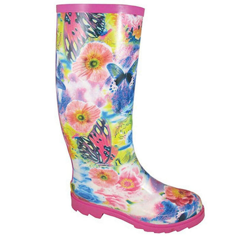 Smoky Mountain Ladies Pink Butterfly & Flower Rubber Boots 6771
