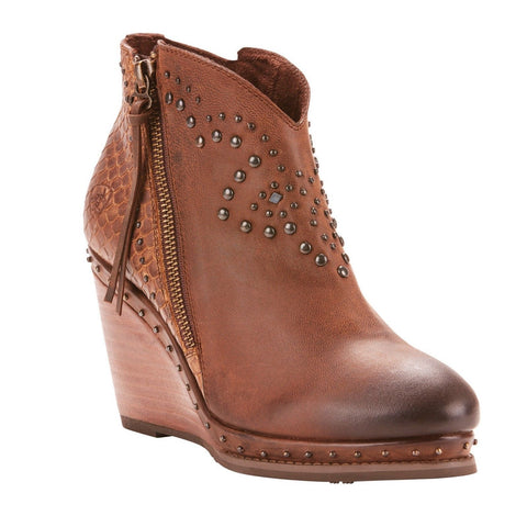 Ariat Ladies Stax Weathered Russet Diamondback Tan Booties 10025158 - Wild West Boot Store