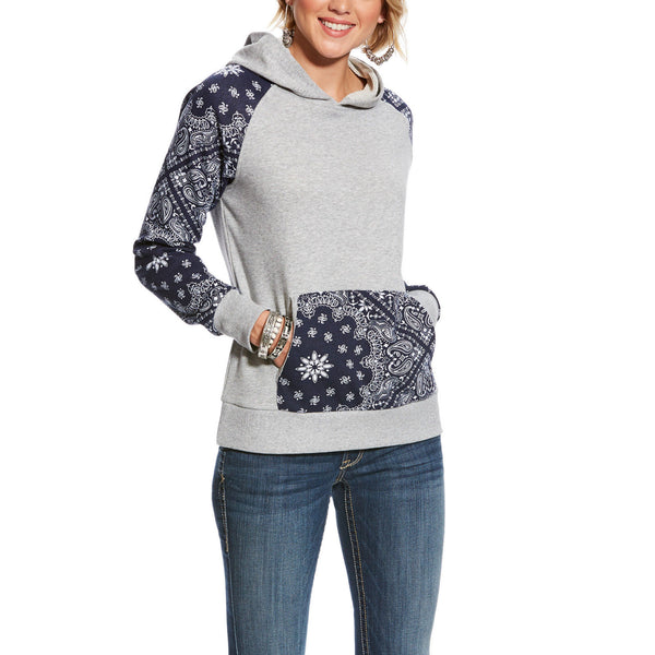 Ariat® Ladies R.E.A.L Relaxed Grey & Blue Paisley Hoodie 10025446 - Wild West Boot Store