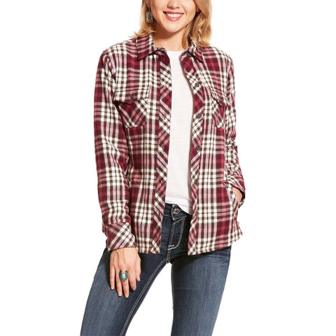 Ariat® Ladies Red Plaid Snap Button Shacket Shirt Jacket 10028773