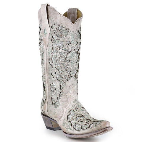 83c77b9c75d7 Corral Ladies White/Green Glitter Inlay/Crystals Wedding Boot A3321 - Wild  West Boot