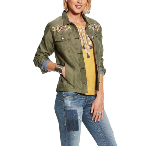 Ariat® Ladies Lulu Burnt Olive Embroidered Utility Jacket 10025847 - Wild West Boot Store