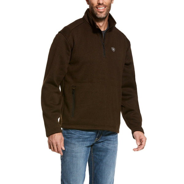 Ariat® Men's Caldwell 1/4 Zip Dark Brew Brown Sweater 10027968
