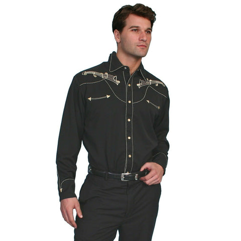 Scully Men's Gold Embroidery Notes Shirts P-627-BLK