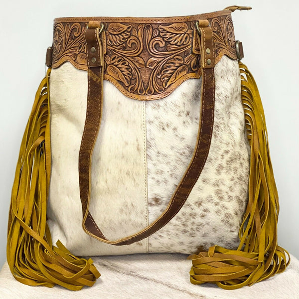 American Darling White and Brown Cowhide Fringe Purse ADBGZ166