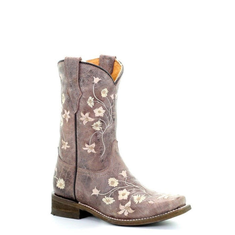 Corral Children's Brown Bone Floral Embroidery Square Toe Boots E1267 - Wild West Boot Store