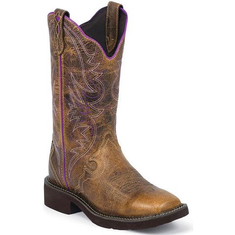 Justin Ladies Gypsy Raya Distressed Tan & Purple Boots L2918 - Wild West Boot Store