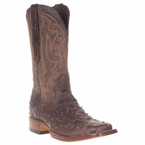 Tanner Mark Men's Chocolate Ostrich Print Boots TM207011