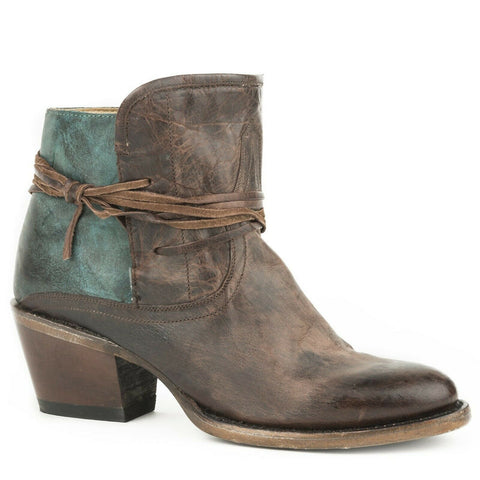 Stetson Ladies Minx Brown & Teal Vintage Toe Booties 12-021-5109-1076