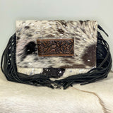 American Darling Silver and Cowhide Fringe Purse ADBG360ACSL