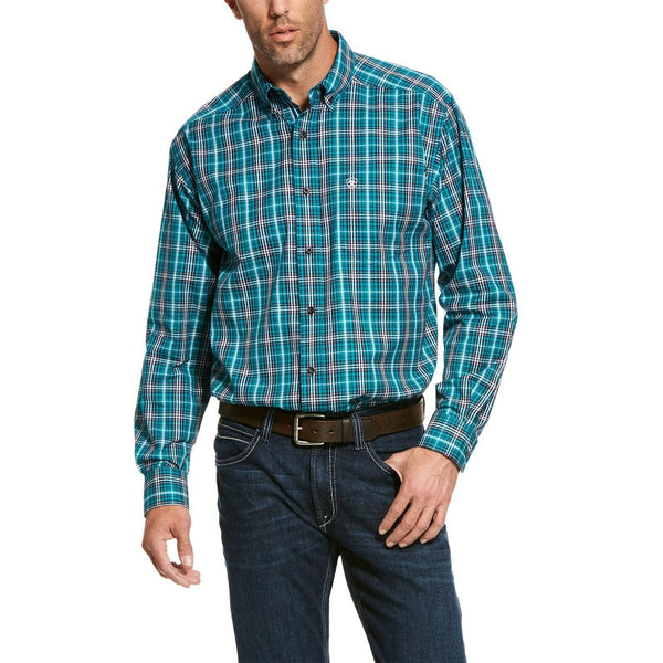 Ariat® Men's Pro Series Teal Rooks Long-Sleeve Button Shirt 10028186
