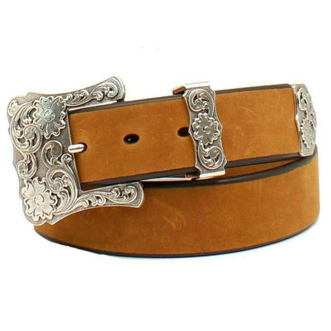 Nocona Ladies Solid Brown Leather Belt with Floral Buckle N3497744