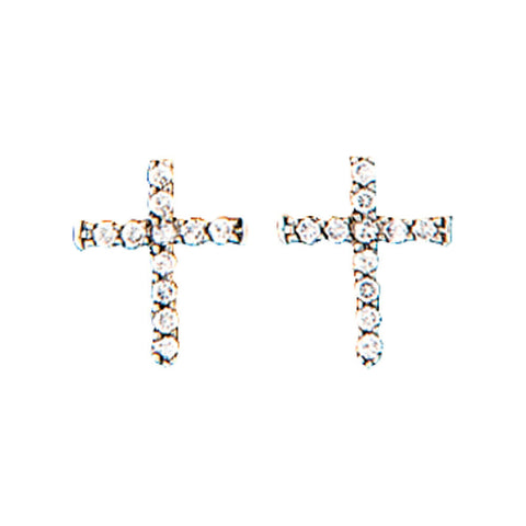Montana Silversmiths Quiet Faith, Tiny Crystal Cross Earrings ER1510