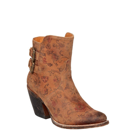 Lucchese Ladies Catalina Brown Floral Printed Shortie Boot M4953 - Wild West Boot Store - 1