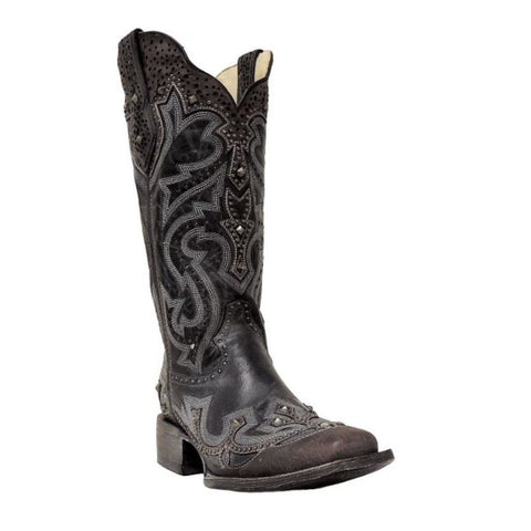 Corral Ladies Black/Brown Embroidery/Stud Boot G1322 - Wild West Boot Store - 1