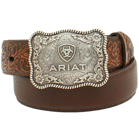 "Ariat® Boy's 1/4"" Flower Tooled Brown Belt A1301002"