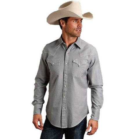 Stetson Men's Modern Snap Front Heather Grey Shirt 11-001-0465-7002