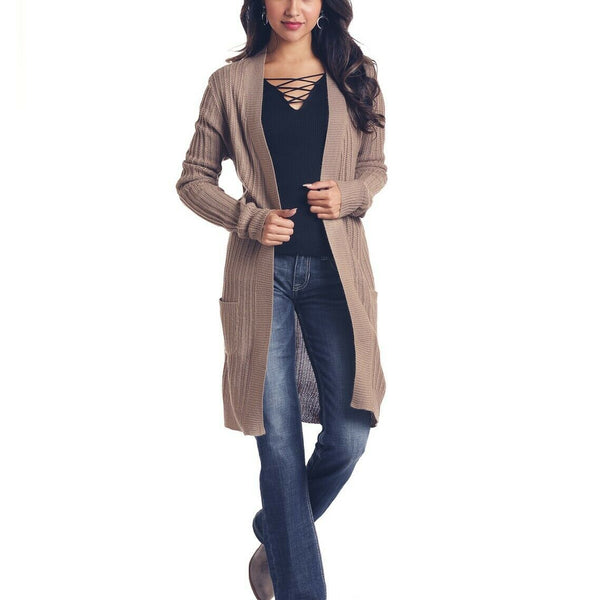 Rock & Roll Cowgirl Tan Long Sleeve Cardigan J8-6858-24
