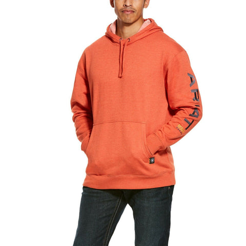 Ariat® Men's Rebar Graphic Logo Volcanic Orange Hoodie 10027809