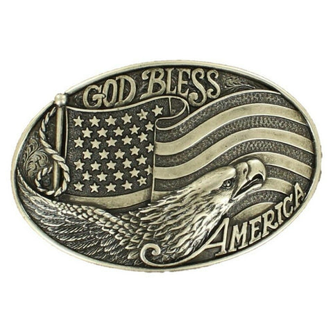 Nocona Oval God Bless America Silver Belt Buckle 37016