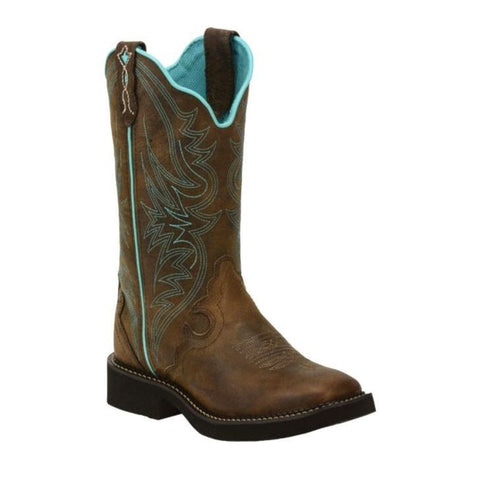 Justin Ladies Chocolate Puma with Turquoise Stitching Boots L2922 - Wild West Boot Store